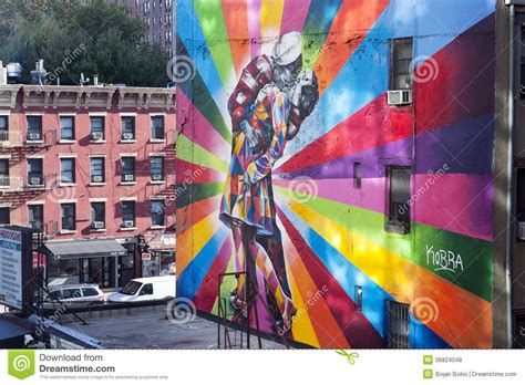 Famous Mural New York City editorial stock photo