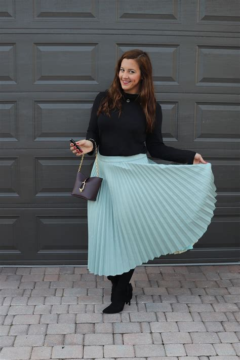Twirling in a Pleated Croc Midi Skirt   Sparkles and Shoes