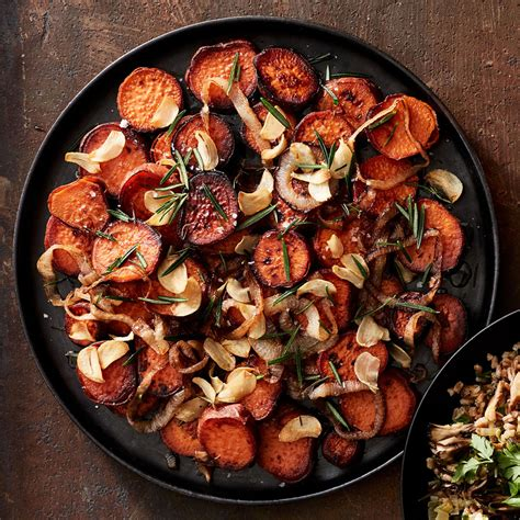 Thanksgiving Sweet Potatoes with Fried Rosemary & Garlic
